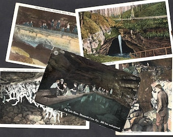 Vintage Mammoth Cave Postcards Kentucky Floyd Collins Crystal Cave Echo River Giants Coffin Unused Lot of 5