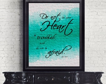 SALE Bible Verse Christian art print wall decor printable John 14:27 INSTANT DOWNLOAD digital scripture Do not let your heart be troubled