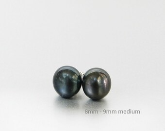 Black Pearl Earrings, Black Pearl Studs, Simple Pearl Earrings, 8mm to 9mm Pearls, Black Earrings, Pearl Bridesmaid Earrings