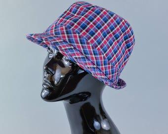"""Vintage Women's H&M Plaid Fedora Trilby Hat 70's Detective XLarge 60cm 24"""""""