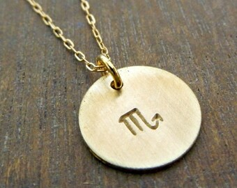 Zodiac Scorpio Gold Filled Hand Stamped Charm Necklace, October, November birthday