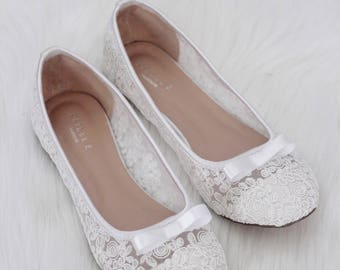 Women Wedding Shoes, Bridesmaid Shoes - WHITE LACE slip on flats with bow