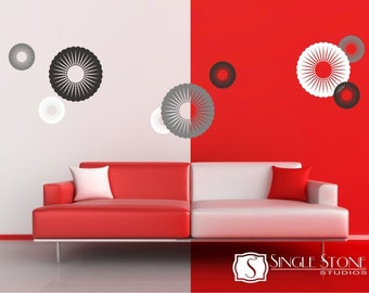 Walll Decals Funky Circles   Vinyl Wall Stickers Art Graphics Custom Home  Decor