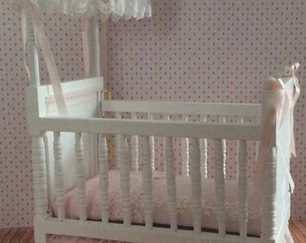 Miniature One Inch Scale Pink Lace Half Canopy Crib