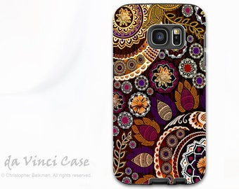 Fall Paisley Galaxy S7 Case - Premium Dual Layer Case for Samsung Galaxy S 7 with Floral Art - Autumn Mehndi - by Da Vinci Case