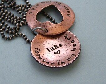 Personalized Open Heart Locket Style Necklace - Hand Stamped Copper on Sterling Silver Chain