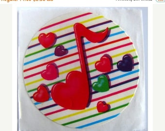 SALE Vintage Lisa Frank Rainbow Musical Notes and Hearts Sticker - 80's Stripe Collectible Scrapbook Collage