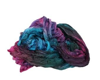 Pink Sirius -  pink,  green, turquoise, burgundy silk scarf.