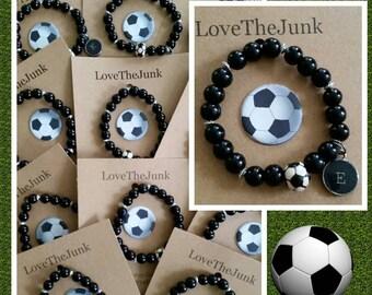 Handmade Personalized Soccer Bracelet. Soccer ball charm, typewriter charm, soccer team gift, coaches gift, futbol bracelet, sports jewelry