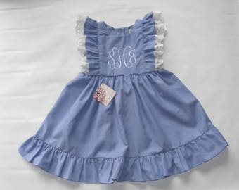 Monogram Dress, Pinafore dress toddler, easter dress girls, girls ruffle dress, Girls Dress, Toddler dress, Pinafore dress, Easter Dress, 3T