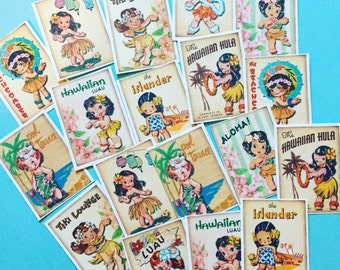 Hawaii Hula Girl Stickers - Set of 18 - Handmade Stickers, Vintage Style, Vintage Hula Girl, Cute Girl Stickers, Vintage Hawaiian Girl