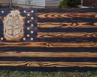 American flag. Navy flag. American flag with Navy Anchor set amongst the stars. Wood flag. Wood American flag. Wood Navy Flag.