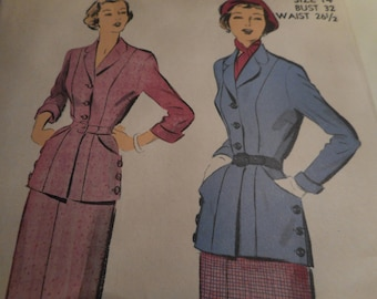 Vintage 1950's Advance 5193 Suit Sewing Pattern Size 14 Bust 32