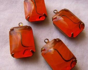 Orange Translucent 18x13 Octagon Vintage Glass Drops 4 Pcs