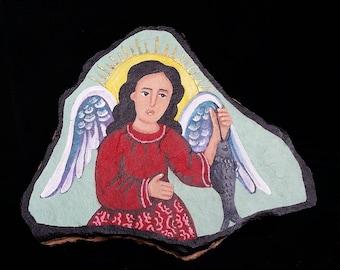 San Rafael - flagstone retablo, OOAK painting.