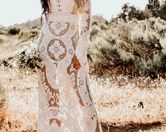 Long Sleeve Vintage Lace WEDDING Maxi Dress Gown With Mini Train Bohemian Boho Saldana  Elopement Camila Dress