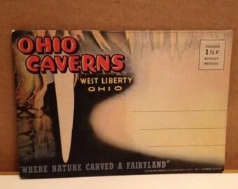 ON SALE Vintage 1940's Souvenir Postcard Booklet Ohio Caverns Caves