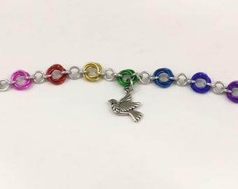Rainbow Freedom Bird Mobius Spiral Chainmaille Charm Bracelet