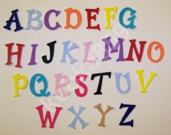 "26 Letters 1 1/2"" FELT IRON-ON Die Cut Alphabet--Personalize Christmas Stocking, Backpack, Jacket, etc."