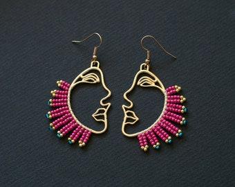 Gold Profile Earrings, Face Earrings, Pink Plume Earrings, Picasso Style Earrings, Golden Earrings, Posh Earrings, Hollow Face earrings