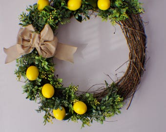 Lemon Wreath, Summer Wreath, Fall Wreath, Year Round Fern Wreath, Front Door Wreath, New Home Door Wreath, Green Leaf and Flower Wreaths