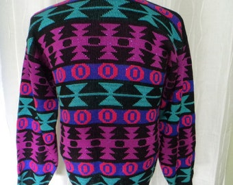 Vintage 80s Sweater, 90s Sweater, Geometric Sweater, (Size: Women's Small - Medium?), Aztec-look, Vibrant Colors, Like New, 80s Party-wear