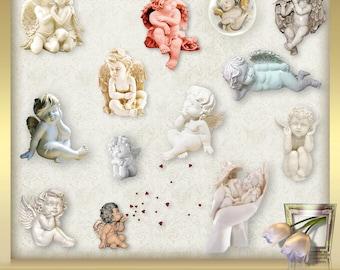 25 Angel Clip Art Vol. 1 - Christmas Clipart- Holiday clip art -  xmas clipart - cherub - angel - Instant Download - png files