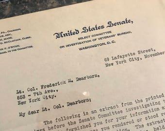 Vintage United States Senate Letter 1923