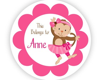 Name Tag Stickers - Cute Pink Little Girl Mod Monkey Personalized Name Label Tag Stickers - 2 inch Round Tags - Back to School Name Label