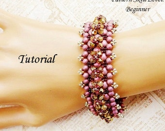 SATIN with a BLING beaded bracelet beading tutorial and pattern seed bead beadwork jewelry beadweaving tutorial beading pattern instructions