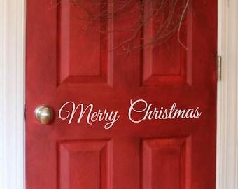Front Door Vinyl Decal • Merry Christmas- Door Decal Decor- Vinyl Wall Decal- Holiday Decor