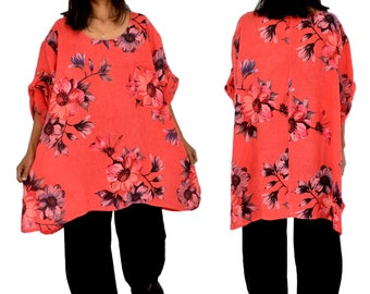 LC600KO women's tunic blouse linen vintage flowers gr. 48 50 52 Portable Coral