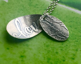 Love Letters silver etched necklace