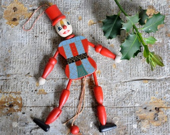 Vintage Christmas Puppet Decoration, Marionette, Dancing Clown Toy, Child's Circus Mobile, Xmas Decor, Hanging Doll, Rustic Style Holidays