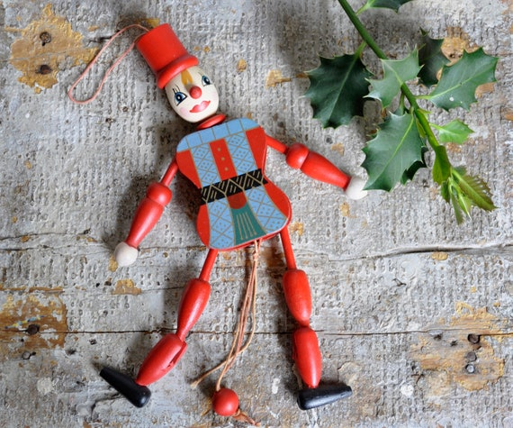 vintage christmas puppet decoration marionette dancing clown