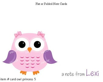 Girl Pink and Purple Owl Note Cards Set of 10 personalized flat or folded cards