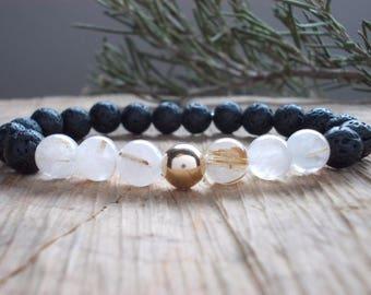 Rutilated Quartz Essential oil diffuser bracelet~Lava oil diffuser bracelet~Quartz bracelet~ Lava bracelet~Gold Filled bracelet~Aromatherapy
