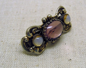 1980s Purple Jeweled Scarf Clip - Renaissance Style