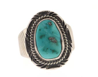 Vintage Turquoise Ring, Sterling Silver Turquoise Ring, Will Denetdale Ring, Southwestern Jewelry, Navajo