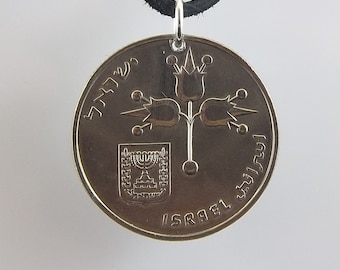 1968 Israel Coin Necklace, 1 Lira, Coin Pendant, Mens Necklace, Womens Necklace, Leather Cord, Vintage, Jewish