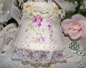 Soft Purple Roses Country Cottage Chic NIGHT LIGHT with Lavender Beading & Ivory Lace