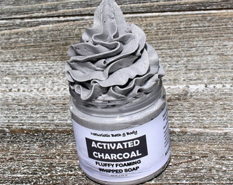 ACTIVATED CHARCOAL Whipped Creme Soap, Lavender & Clary Sage Essential Oils, Detox Soap, Body Wash, Face Wash, 4 oz.