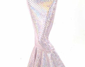 Jupe taille haute rose & argent scintillant hologramme échelle métallique sirène queue 151394