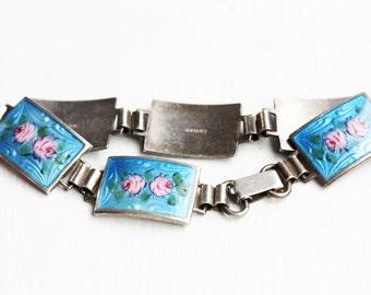 Sterling Silver Enamel Rose Bracelet, Blue Rose Bracelet, Sterling Silver Bracelet, Enamel Bracelet, Rose Bracelet, Guilloche Bracelet