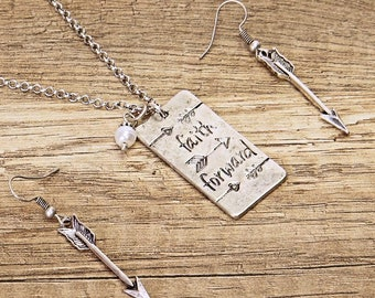 Hand Stamped Arrow Faith Forward Silver Necklace Earring Set