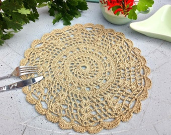 Free shipping/Crochet jute beige color round place mat set of two/handmade table mats/home decor/table decorations/ready to ship