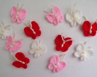 12 Crochet butterfly appliques,embellishments,Scrapbook,sewing,red/pink/white,valentine's day