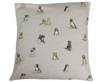 Dogs Countryside Animal Print Cushion Cover