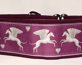 Jane Walker Angel Fabric -Purple and Silver Martingale Collar-