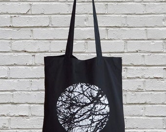 Black Tote Bag, Screen Printed Canvas Tote Bag, Market Bag, Minimalist, Black and White, Eco Friendly, Tree,  Nature